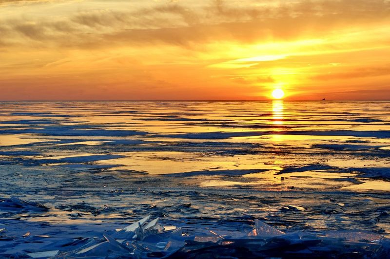 Winter Ice / Sunrise at Luna Pier, Michigan