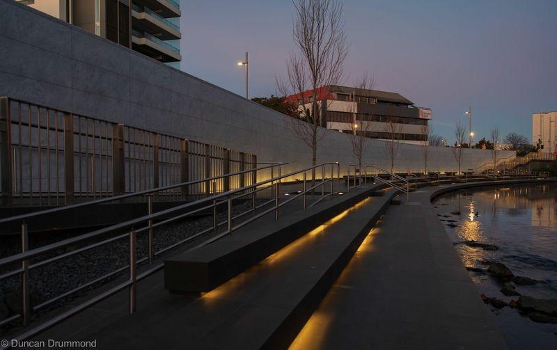 Earthquake Memorial Wall first light