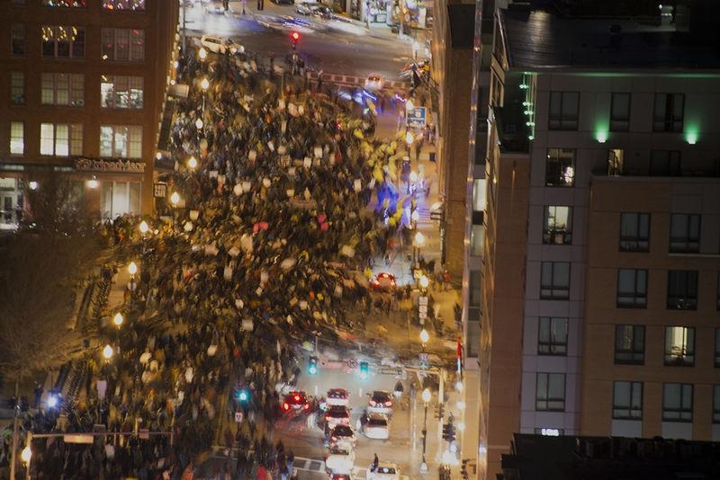 Protesters in Boston