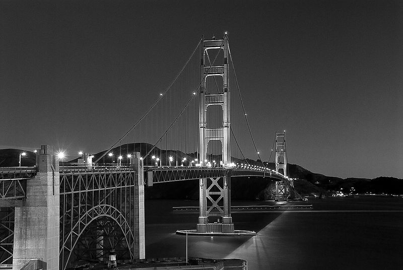 Golden Gate Bridge Just Before Sunrise - Black & White