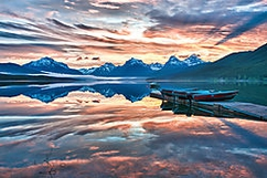 Sunrise at Lake McDonald in the Glacier national park.  5 shot hdr processed in Nik HDR efx pro