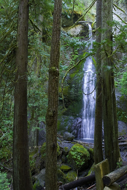 First sight of Marymere Falls
