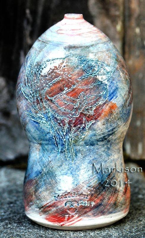 Chameleon Vase; hand thrown porcelain, sgraffito from life