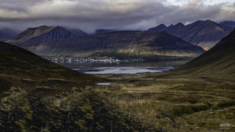 Thingeyri, nestled in the mountains in the Westfjords