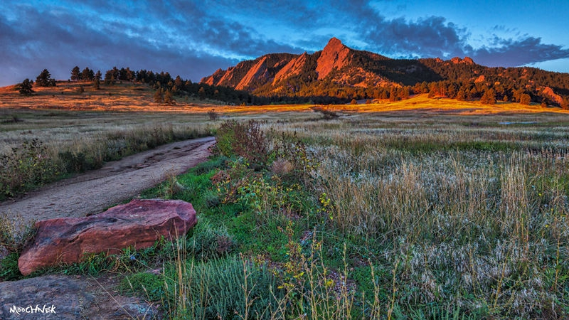 Sunrise at the Flatirons in Boulder, Co.