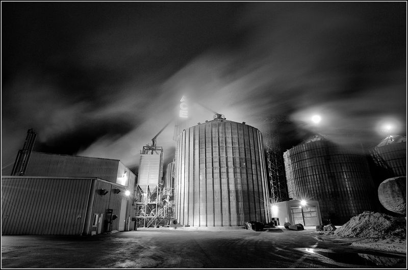 Ethanol plant on winter night