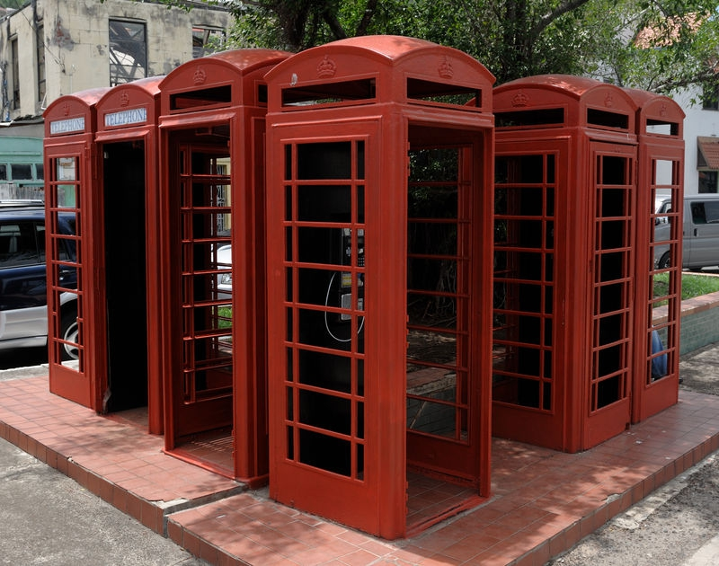 6 Red Telephone booths