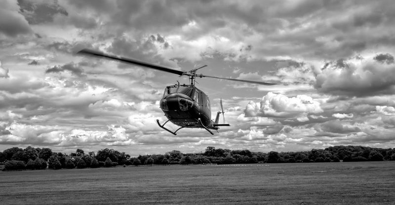 Huey in black and white