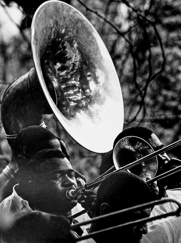 Tuba player in the church band