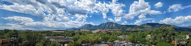 Panorama of The Flatirons Mountains at Boulder Colorado