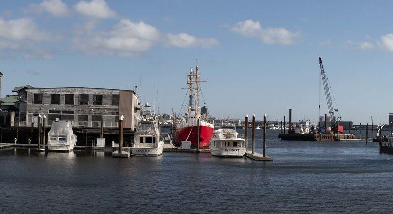 Red Boat in Boston Harbor