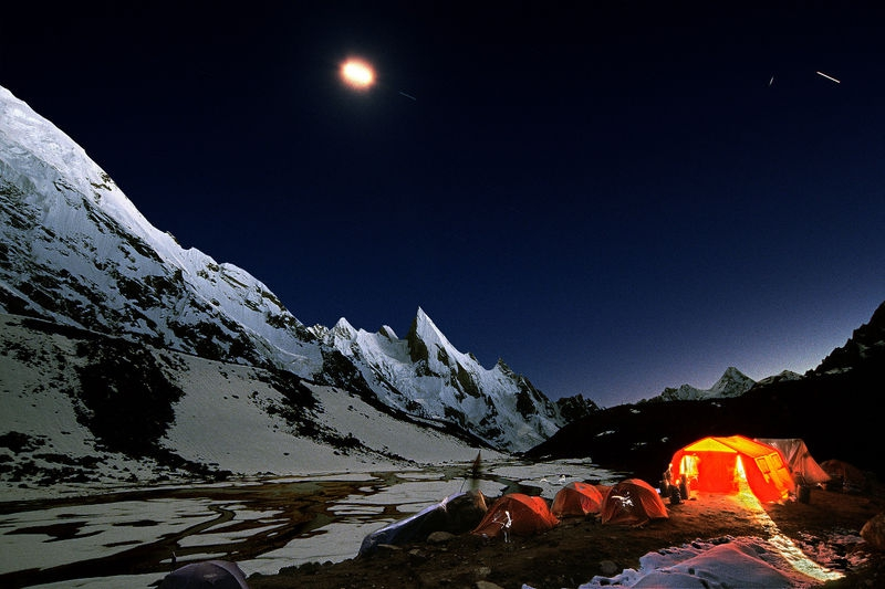 Evening in a mountain camp