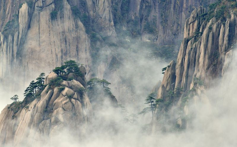 Huangshan mountain in the mist
