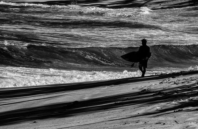 Checking the Shore Break, Sunset Beach, O'ahu - B/W
