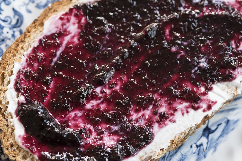 Mulberry jam and cream cheese