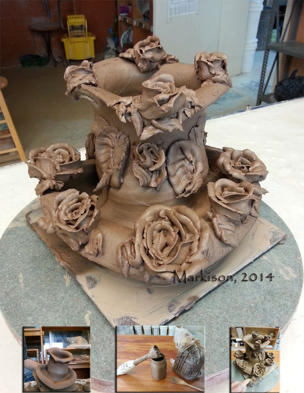Rose Fountain; hand made ceramics