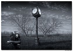 "Winner March Landscape Theme: ""Digital Artistry""  Nothing but Time Three B&W converted images blend: The chimp picture was taken with a Nikon D700 and 70-200mm f/2.8 Nikkor lens. The clock was taken with the Nikon D700 and 17-35mm f/2.8D AF-S Nikkor lens. The landscape was an infrared shot taken with a converted Nikon D200, 18-70mm DX Nikkor lens @ 18mm."