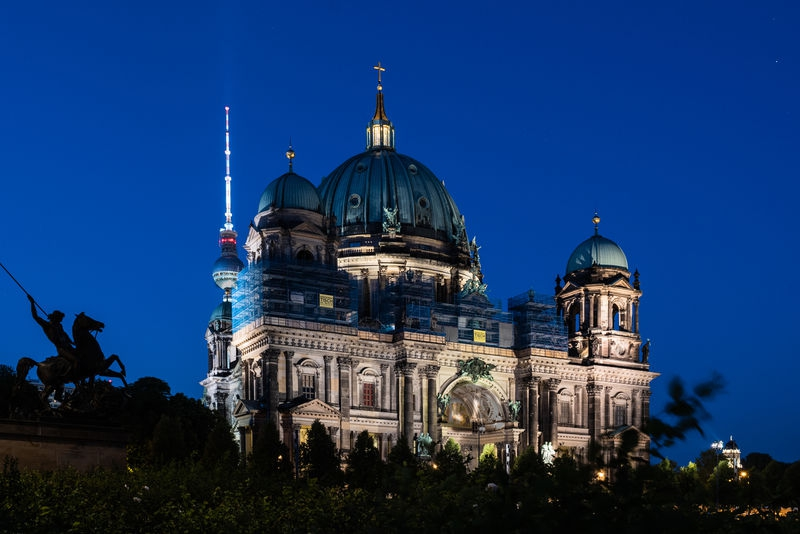 Berlin Cathedral and Tower at blue hour