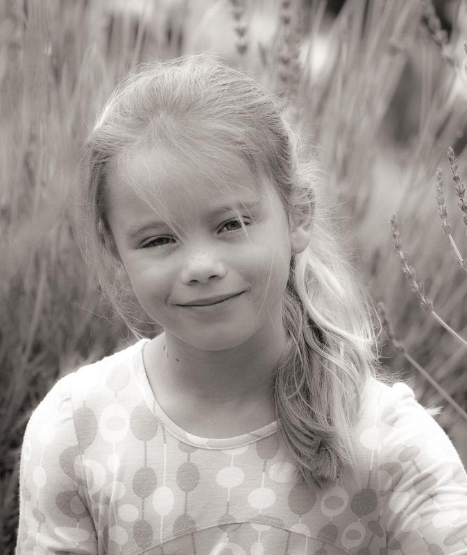 Little girl in lavender field