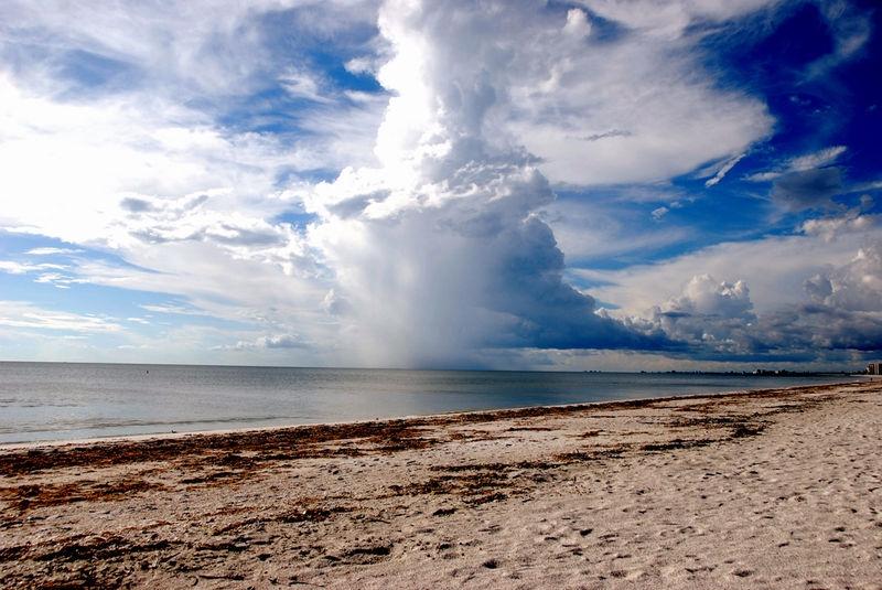 rain cloud on beach