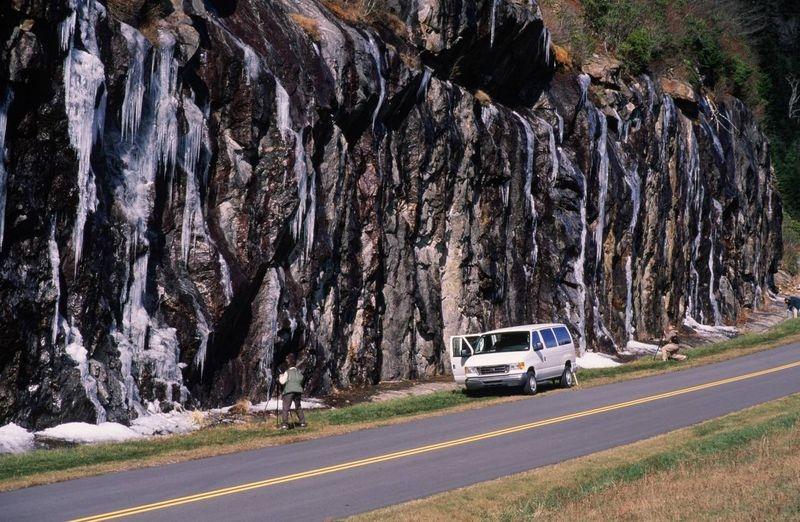 Ice along Blue Ridge Parkway