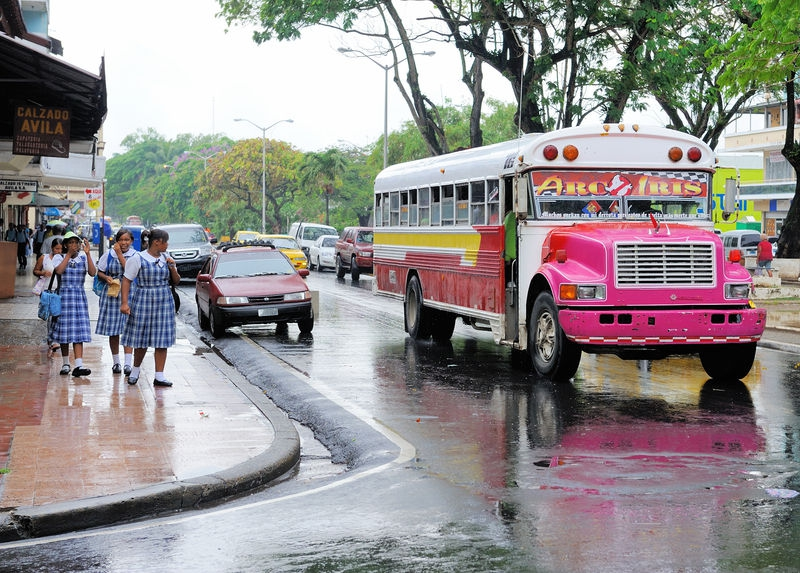 Schoolgirls and a Bus in Colon, Panama