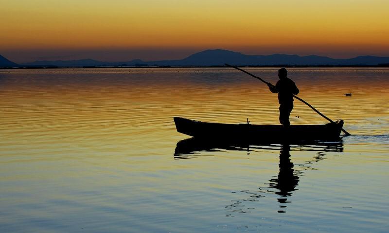 after sunset at lightınıng lake