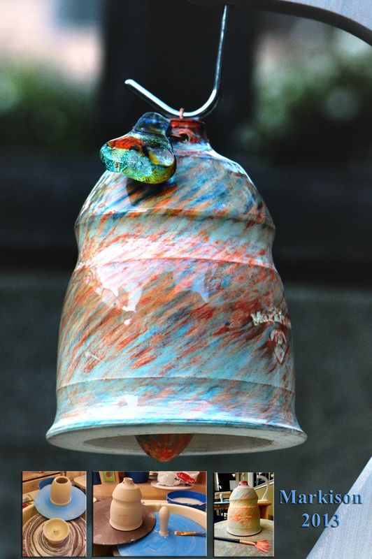 Ceramic Dinner Bell; hand thrown, with flameworked pull