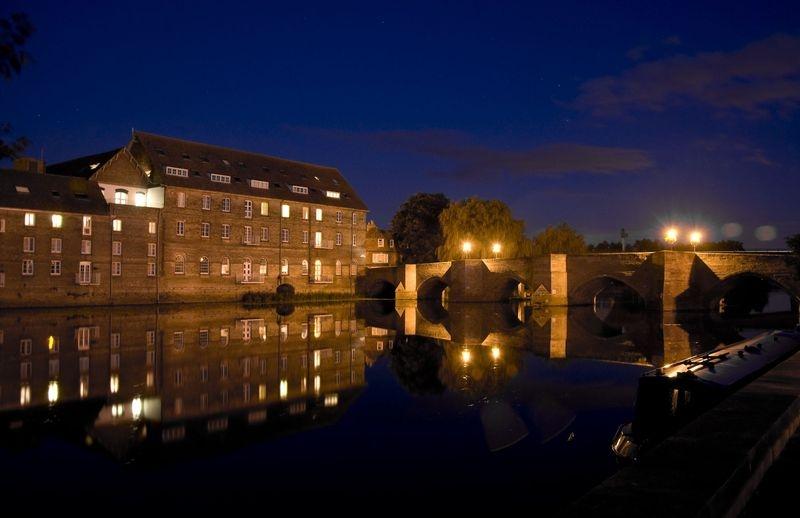 Medieval Bridge and old Mill, Huntingdon, UK