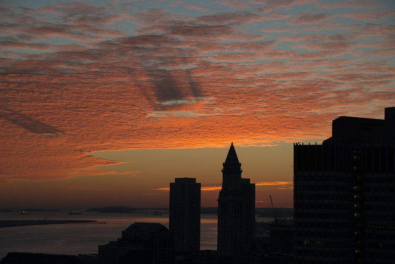 Pre-Sunrise Clouds and Shadows over Boston Harbor