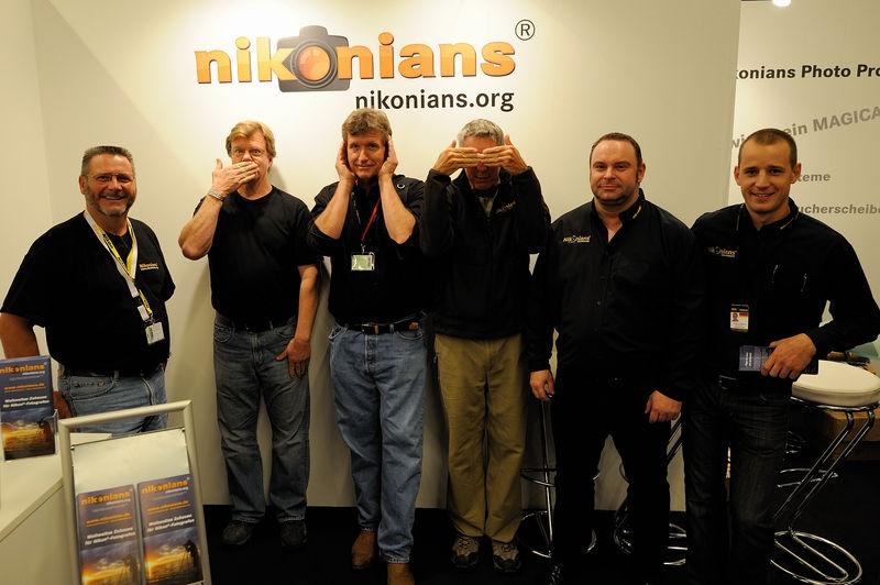 Joe McNally, Bill Frakes and Dave Black in the Nikonians booth at Photokina