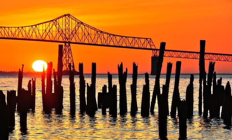 Columbia River Pilings at Sunset