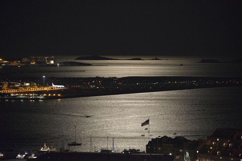 Boston Harbor Under a Full Moon