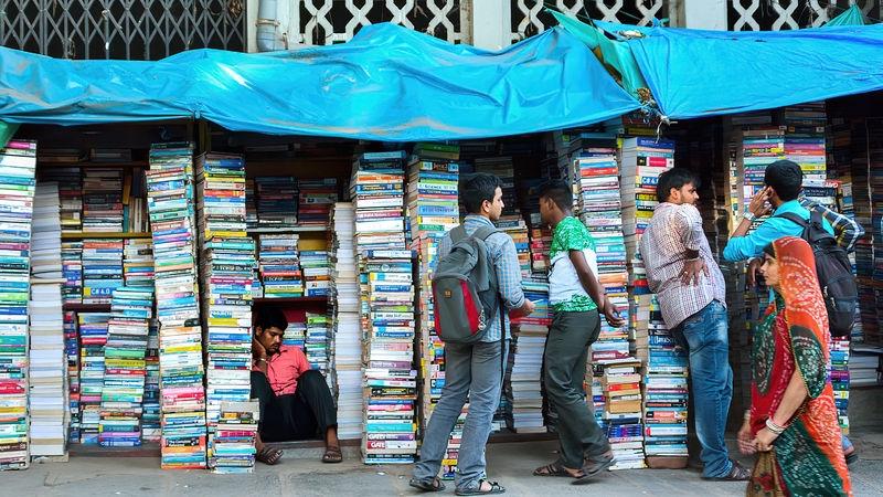 A tired book vendor