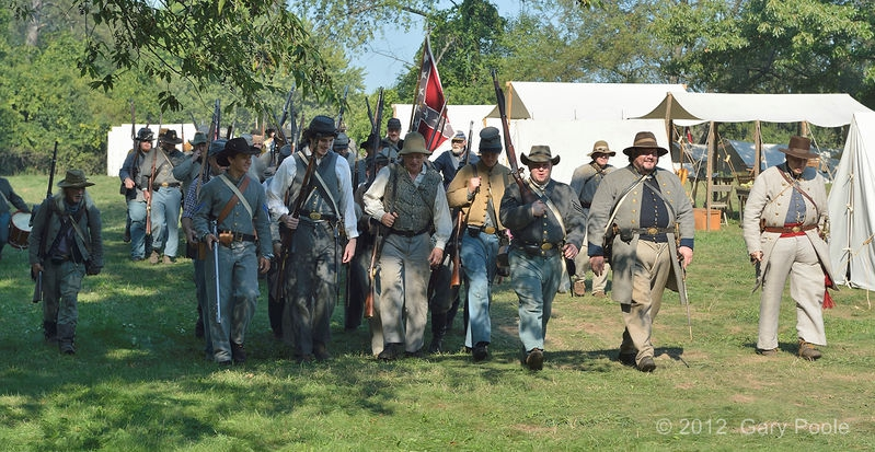 Confederate soldiers leaving camp