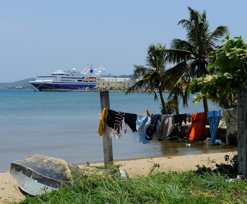 Laundry day at the MV Explorer, in Roatan Island, Honduras