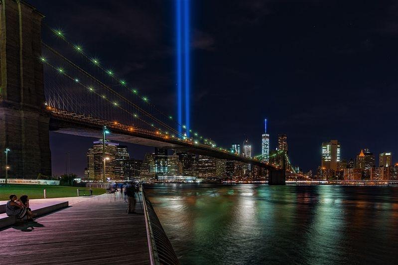 9/11 Nemorial Lights over Brooklyn Bridge
