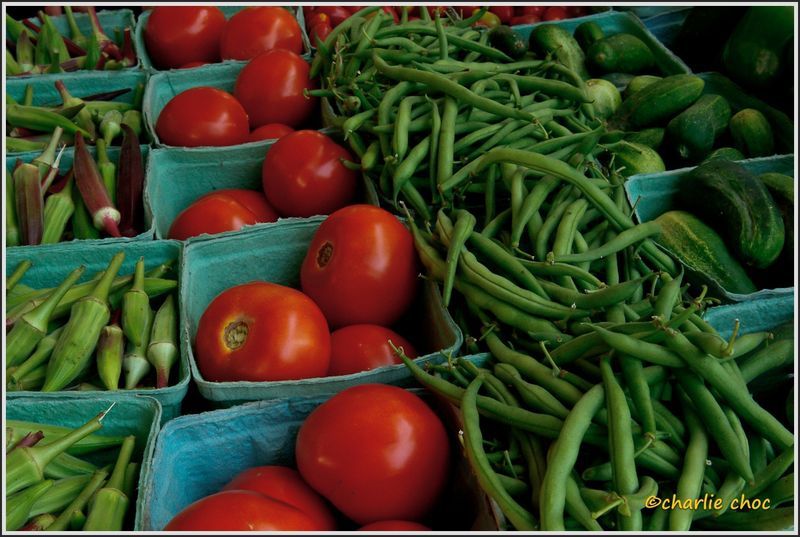 Okra tomatoes and beans