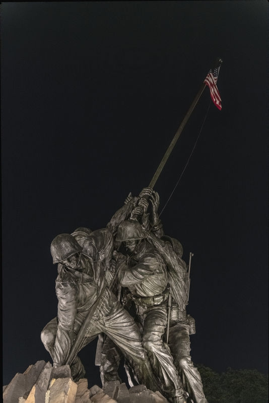 Iwo Jima Monument After Dark