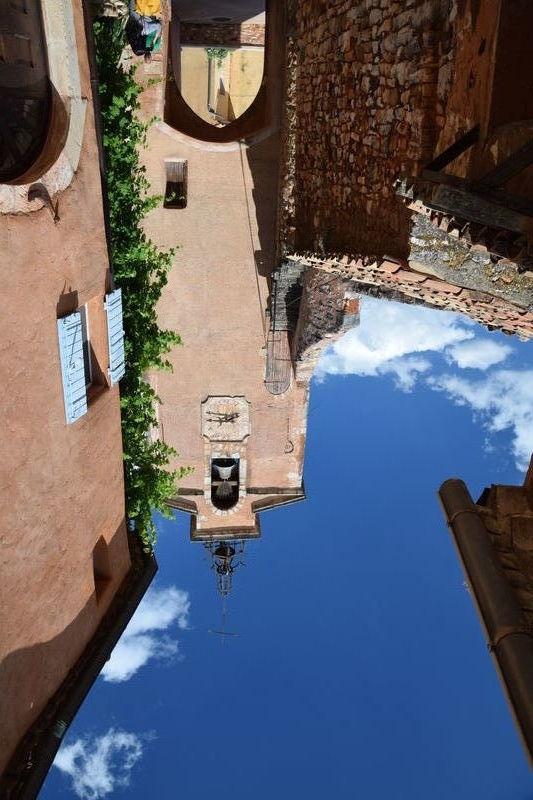 Church clock tower, Roussillon, France