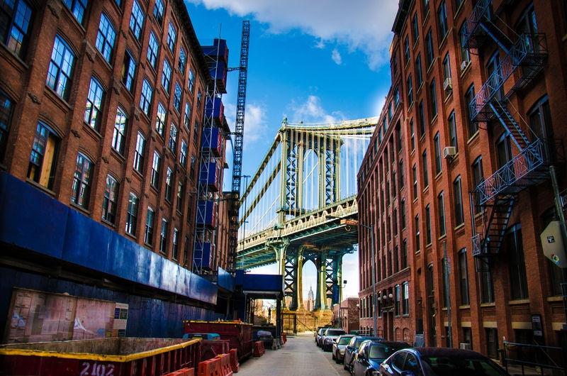 Manhattan Bridge Behind the Buildings
