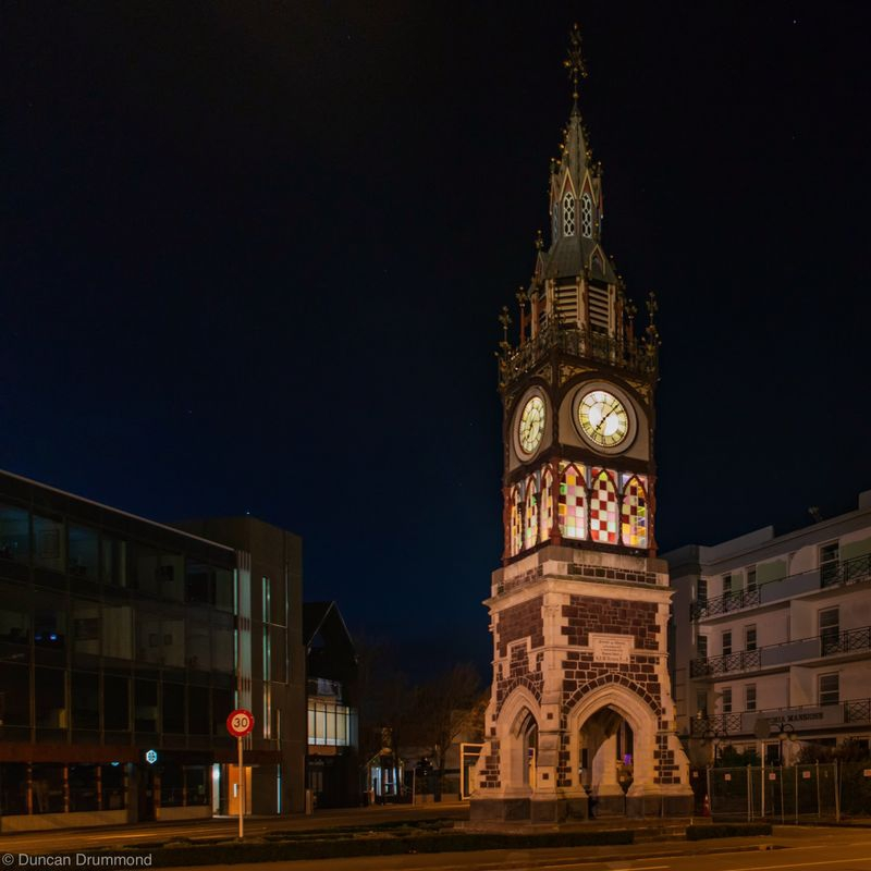 The old clock tower at night