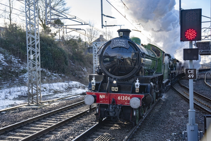 Steam, double header Oxenholme Station at speed
