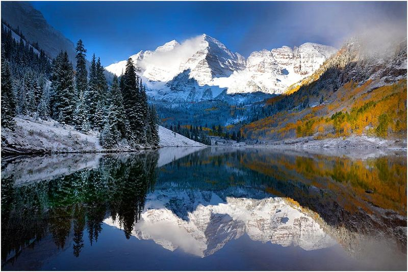 Maroon Bells in clearing storm