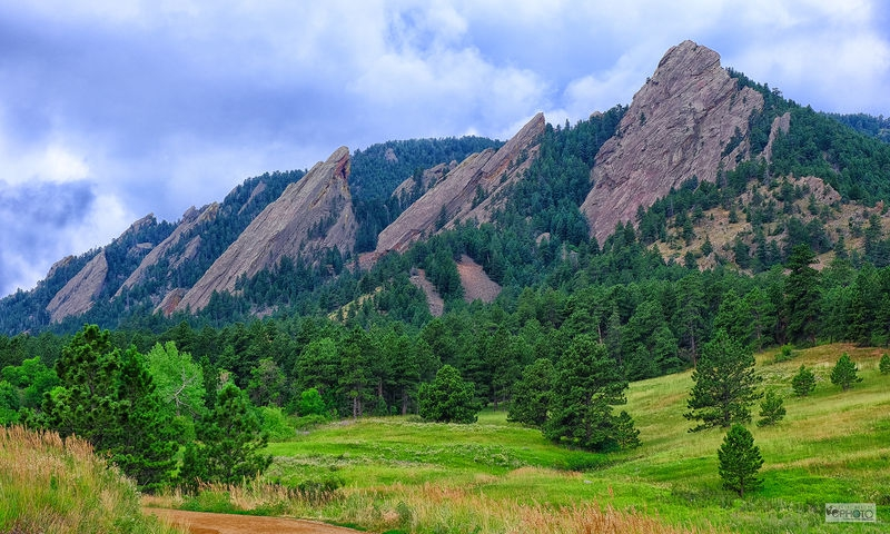 Boulder Flatirons with Trees