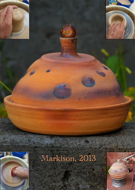 SciFi Tagine; hand thrown, flameworked marble top