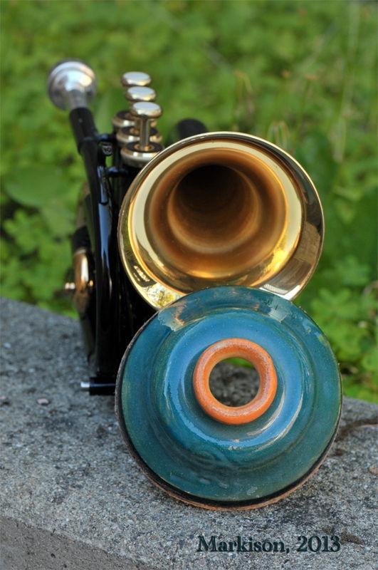 Hand Thrown Ceramic Plunger Mute for Pocket Trumpet