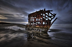 "Winner July Landscape Theme: ""HDR Landscapes""  Wreck of the Peter Iredale Nikon D800, F/16, ISO 100, 16-35VR @ 16mm 5-image HDR at 1-stop intervals"