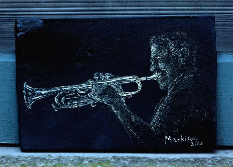 Jazz Trumpeter; Sgraffito on Clay Slab