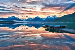 Sunrise at Lake McDonald in the Glacier national park.  5 shot hdr processed in Nik HDR efx pro